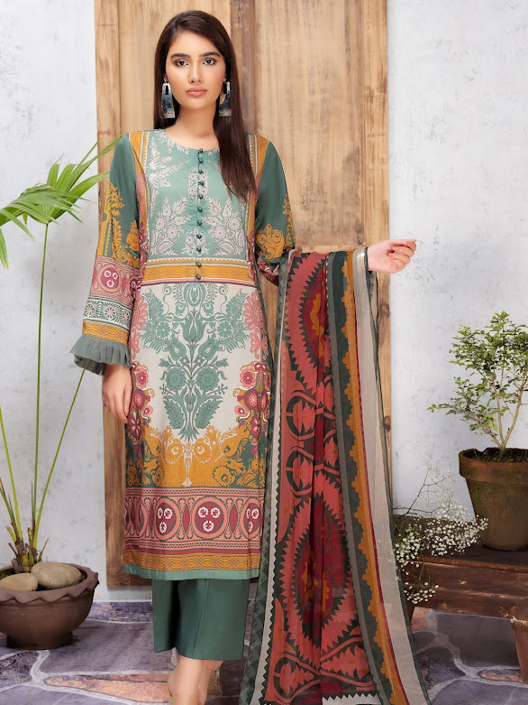 Limelight Lawn suit with dupatta Green printed