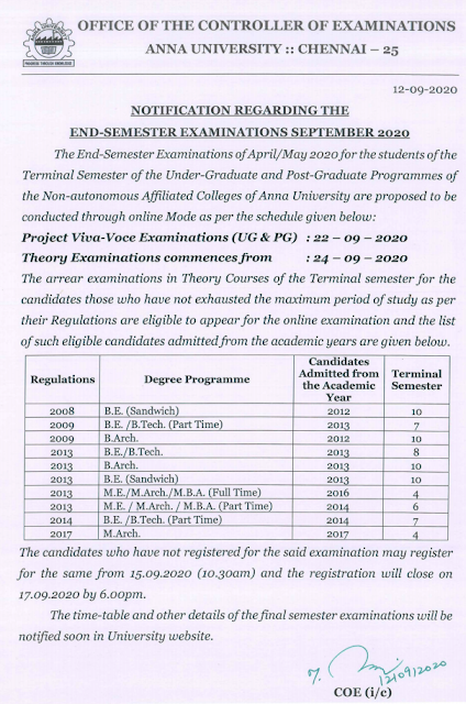 Anna University Final Year Last Date to Pay Exam Fee & Exam Date