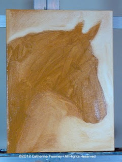 Step by step process showing the wash oil stages of a Wickers Warmblood painting.
