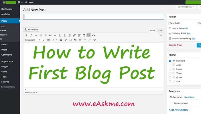 How to Write First Blog Post for Leave an Impression: eAskme