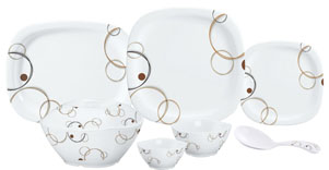 Servewell Sterling Rings Square Round Melamine Dinner Set 31-Pieces White