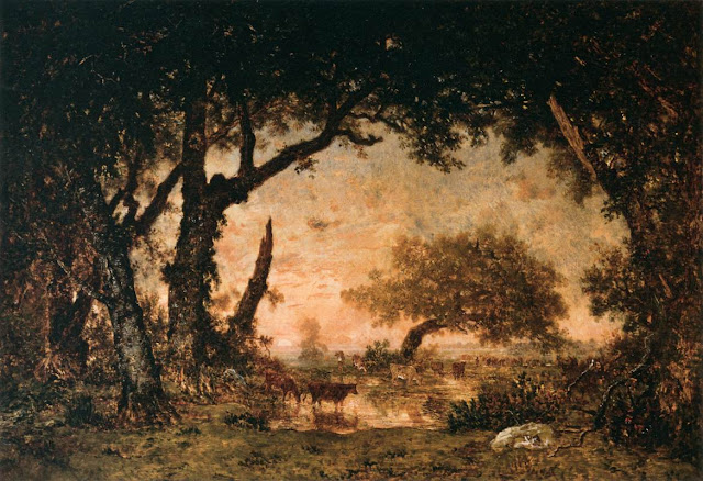 Théodore Rousseau (April 15, 1812 – December 22, 1867), French painter of the Barbizon school via Friends of Art as seen on linenandlavender.net