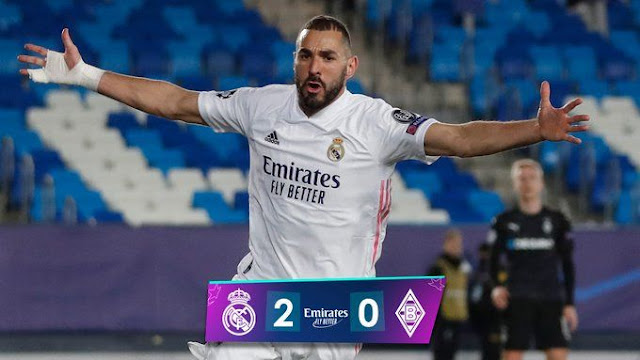 Karim Benzema scored twice, leading the Real Madrid in 2-0 victory