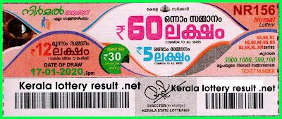 Kerala Lottery Result 17-01-2020 Nirmal NR-156 (keralalotteryresult.net)
