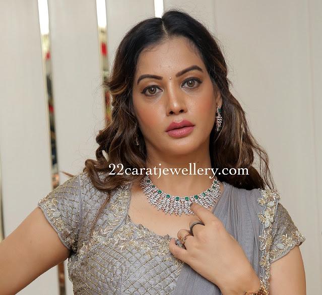 Diksha Panth in Diamond Emerald Set