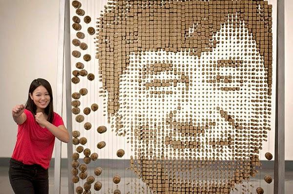 Jackie Chan Chopsticks Portrait by Red Hong Yi