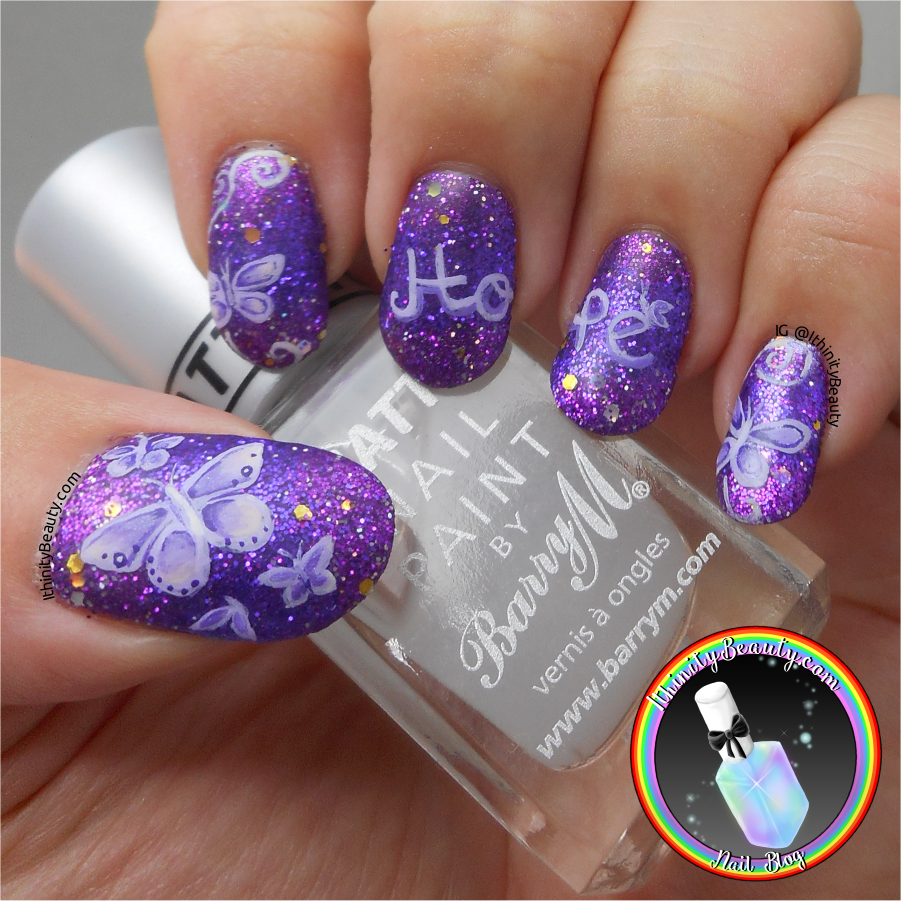 Freehand Butterfly Fibromyalgia Awareness Nail Art | IthinityBeauty ...