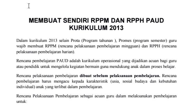 RPPM DAN RPPH PAUD  KURIKULUM 2013