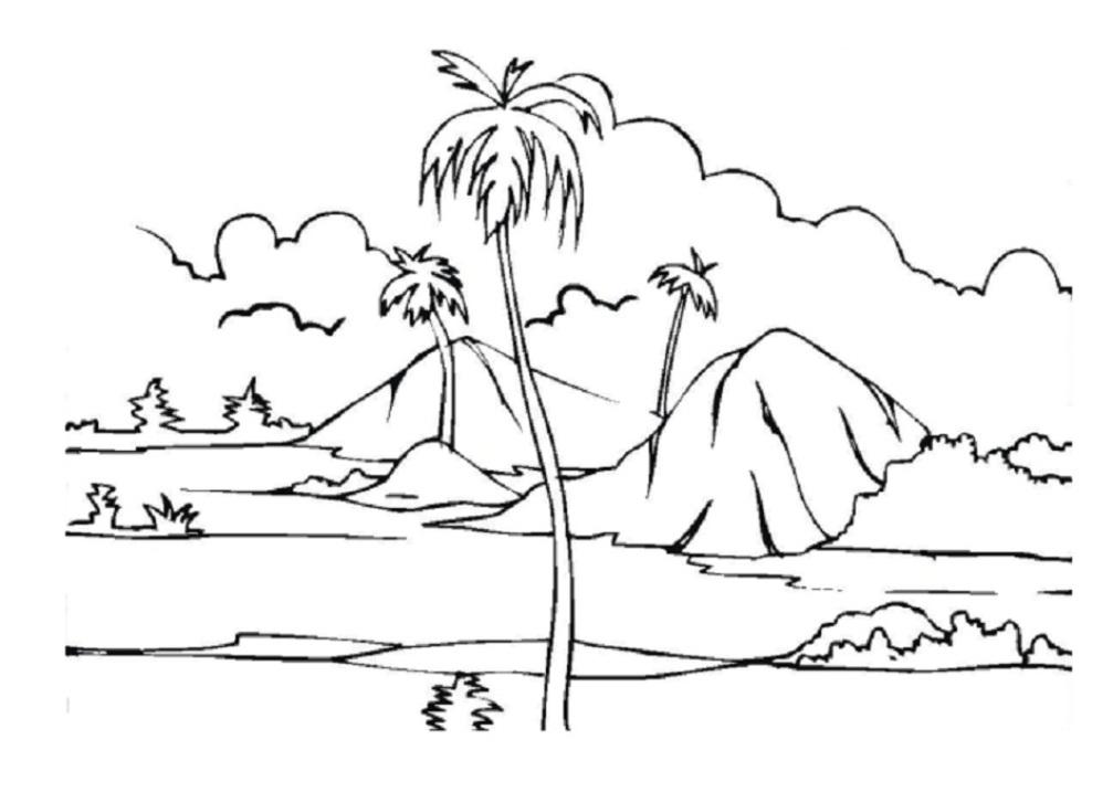 Sketsa mewarnai  gambar  pemandangan alam Dunia Putra Putri
