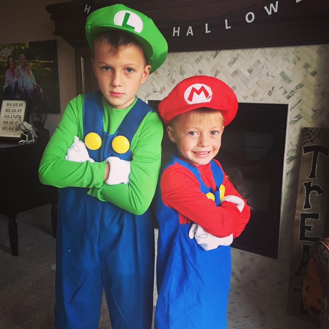 this year the boys had an idea for halloween costumes they wanted to mario and luigiwhich meant justin and i were the princess and bowser since we do the