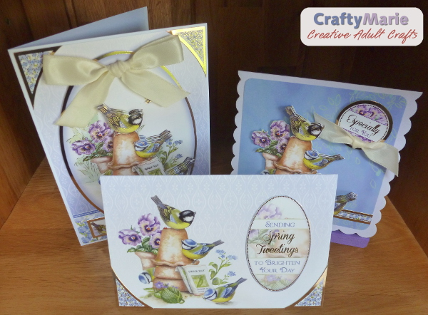 2 handmade bird Spring greeting cards blue tits flower pots garden scene