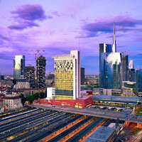 milano porta garibaldi station with skyscrapers of the Porta Nuova new business district behind
