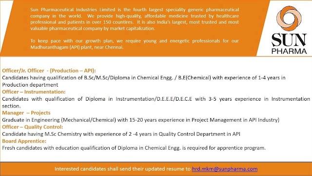 Sun Pharma | Hiring for Multiple departments for Chennai Plant