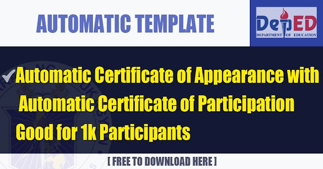 Automatic Certificate of Appearance with Automatic Certificate of Participation Good for 1k Participants