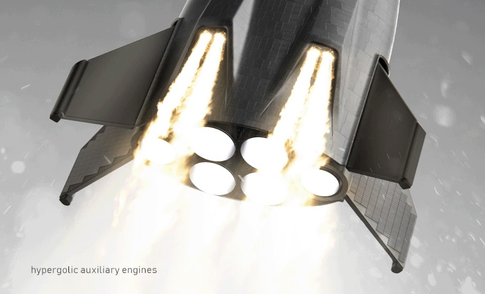 SpaceX orbital shuttle concept by Rodrigo Magro - hypergolic auxiliary engines
