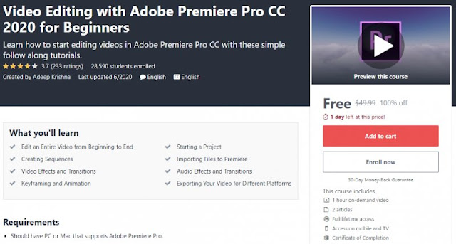 [100% Off] Video Editing with Adobe Premiere Pro CC 2020 for Beginners| Worth 49,99$