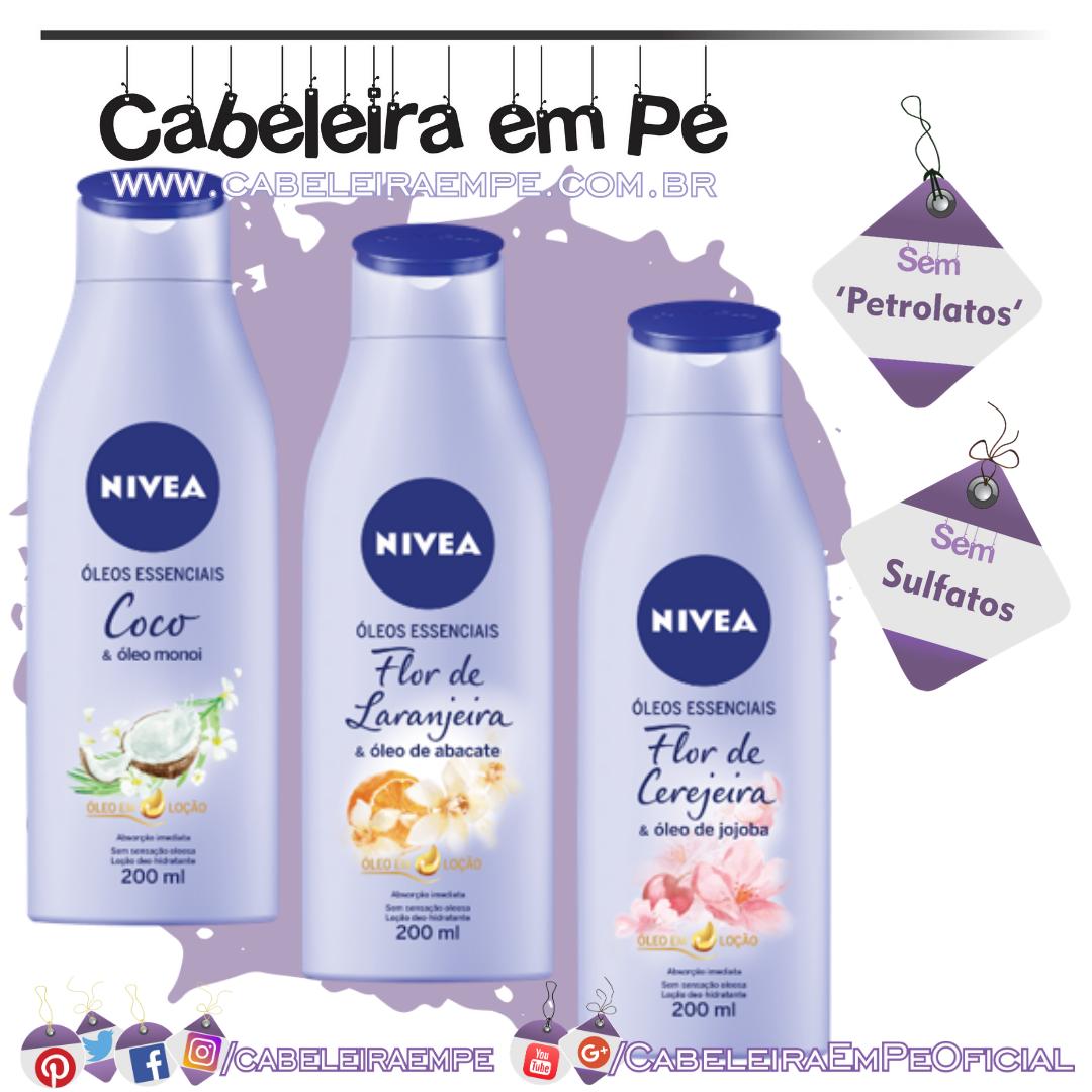 Hidratantes Corporais Óleos Essenciais - Nivea (Coco e Óleo de Monoi, Flor de Cerejeira e Óleo de Jojoba, e Flor De Laranjeira e Óleo Abacate)
