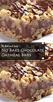 No Bake Chocolate Oatmeal Bars #dessert #bars #chocolate #nobake