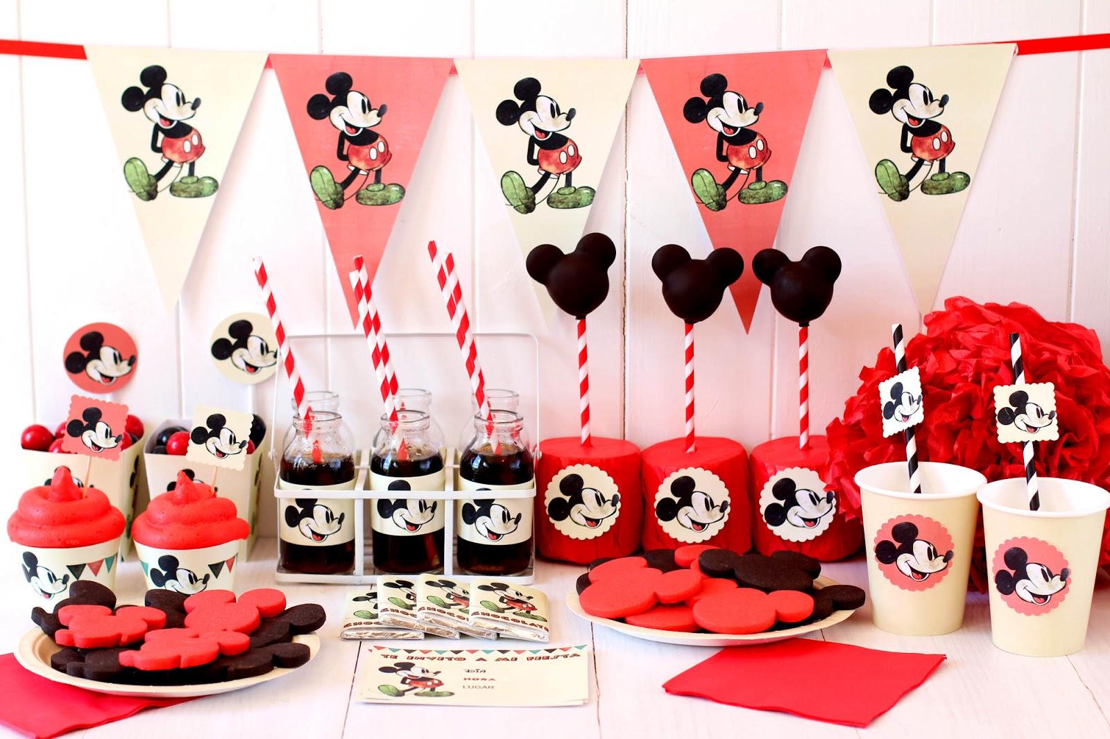 Fiesta vintage de mickey mouse postreadicci n cursos de for Decoracion fiesta vintage