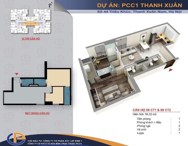 Mặt bằng căn hộ số 10 diện tích 59,33m2 chung cư PCC1 - 44 Thanh Xuân