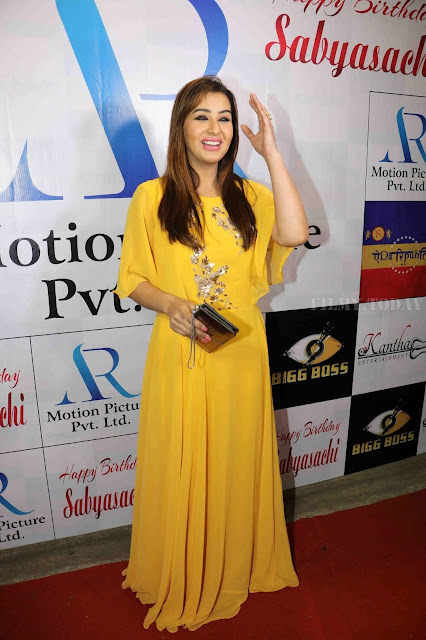 Shilpa Shinde Image In Yellow Dress At Sabyasachi Satpathy Birthday Bash