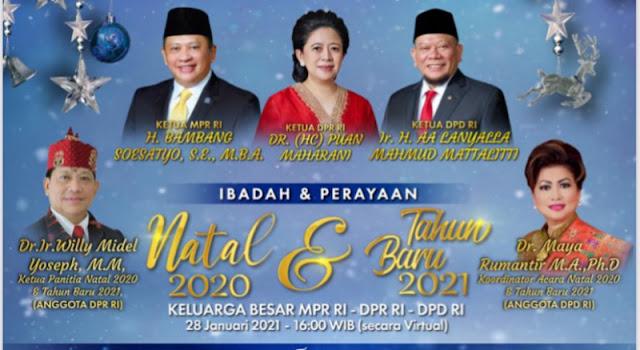 Perayaan Natal 2020 dan Tahun Baru 2021 Keluarga Besar MPR RI/DPR RI/DPD RI Meriah Serat Khidmat