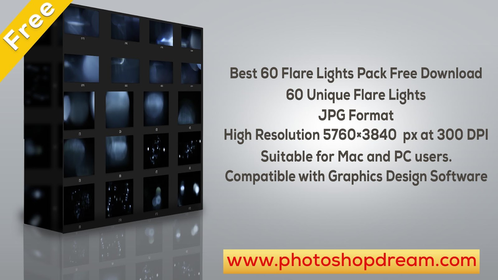 Free Photoshop Overlays For Photographers - Best 60 Flare Lights Pack Free Download