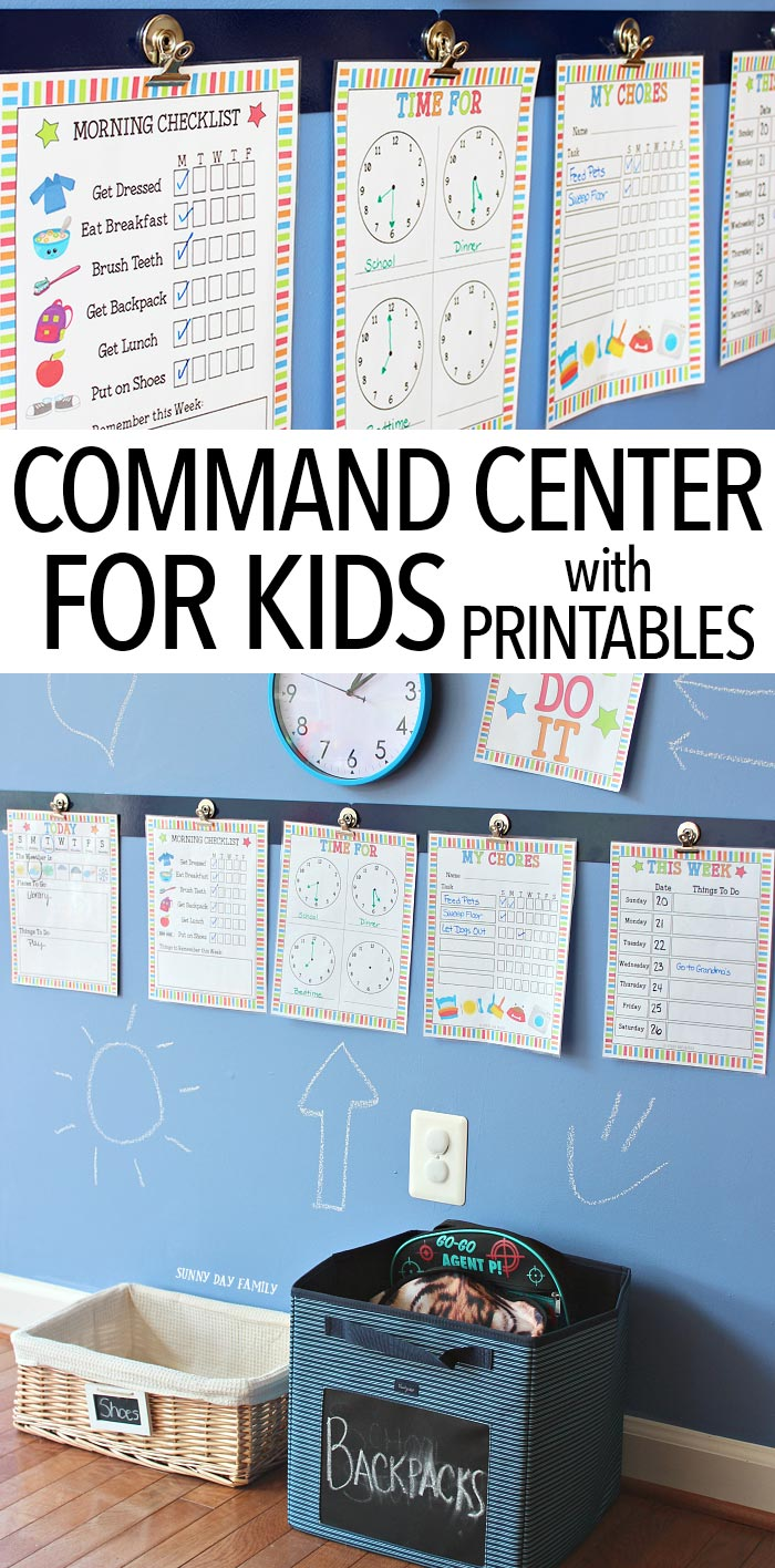 Help your kids navigate each day with this colorful command center! Make a central place for chore charts, routine checklists, and more to help kids with visual reminders. Perfect for back to school and includes a printable set you can customize! This really works!