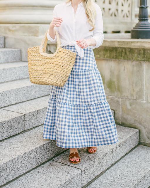 Linen Shirt  + Gingham Skirt