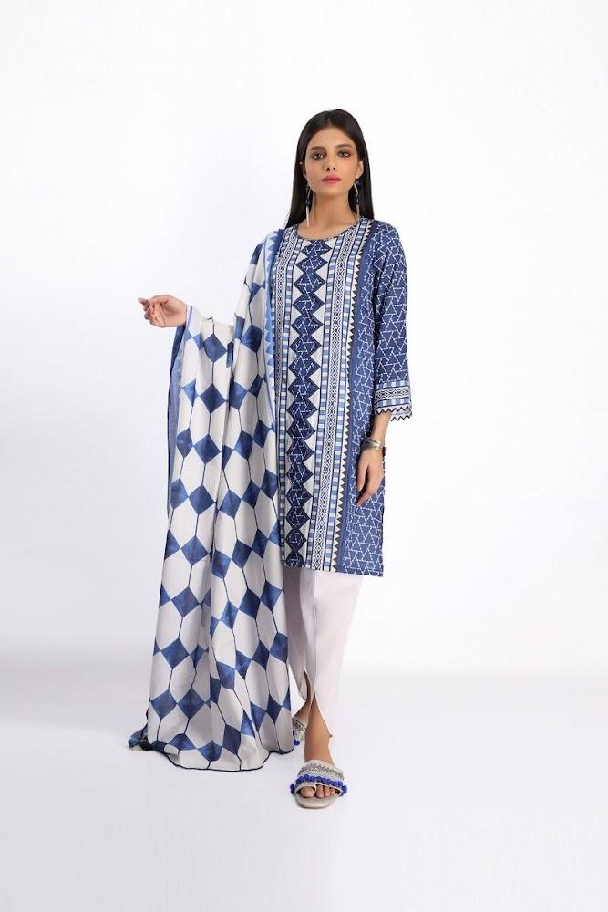 khaadi blue lawn printed shirt dupatta