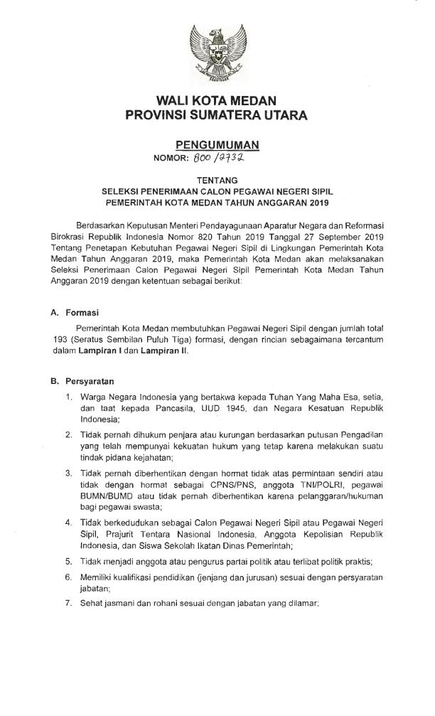 Lowongan Kerja Lowongan D3 D4 S1 Cpns Pemko Medan Tahun 2019
