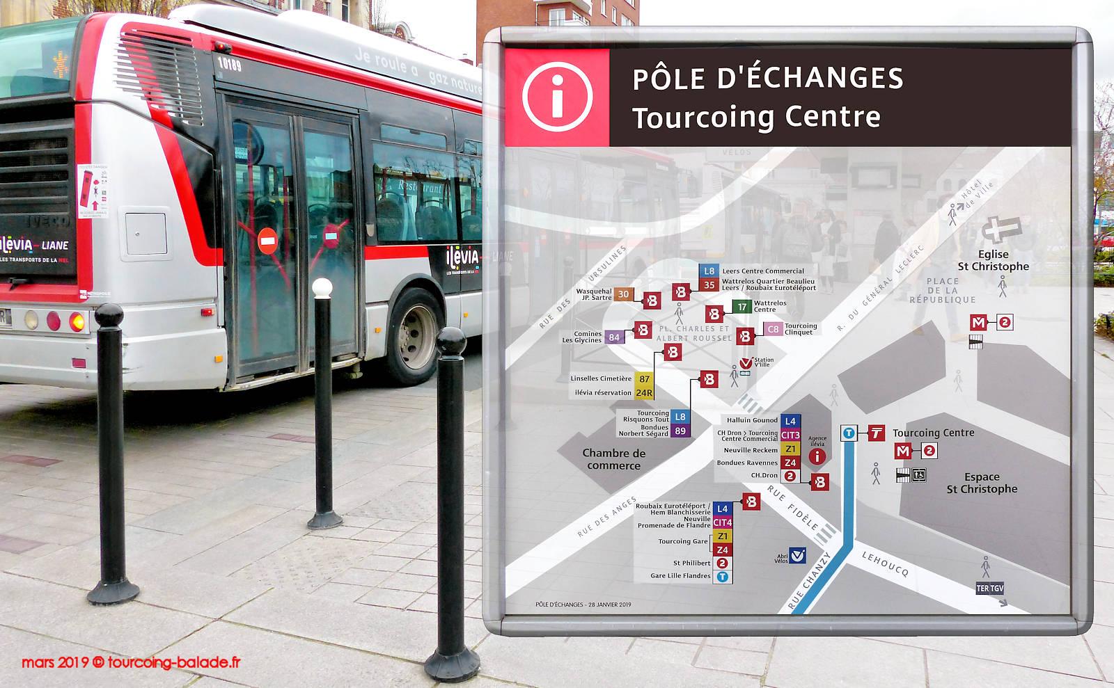 Tourcoing Pôle d'échange Transports - Place Roussel 2019
