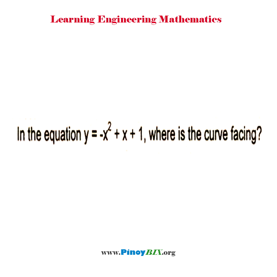 In the equation y = - x^2 + x + 1, where is the curve facing?
