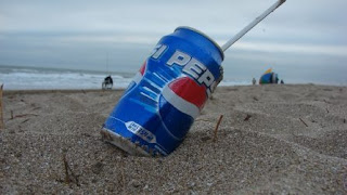 Pepsi can on a beach