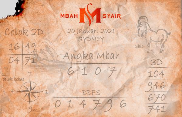 Kode Syair Sydney 20 Januari 2021 Hari Rabu