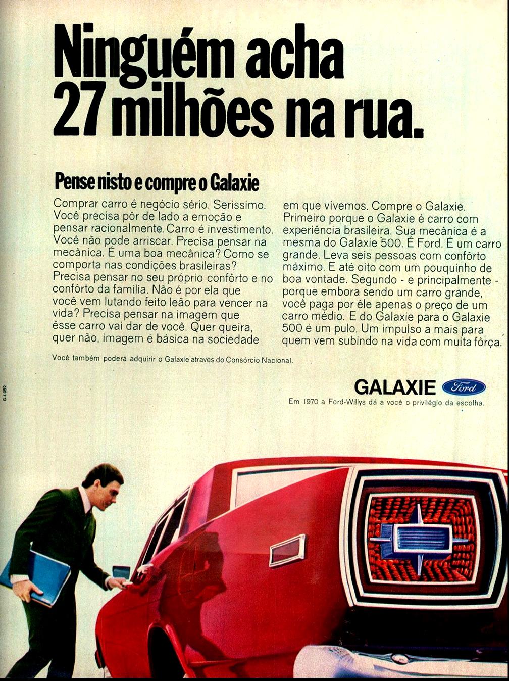 Propaganda antiga da Ford promovendo o Galaxie em 1970