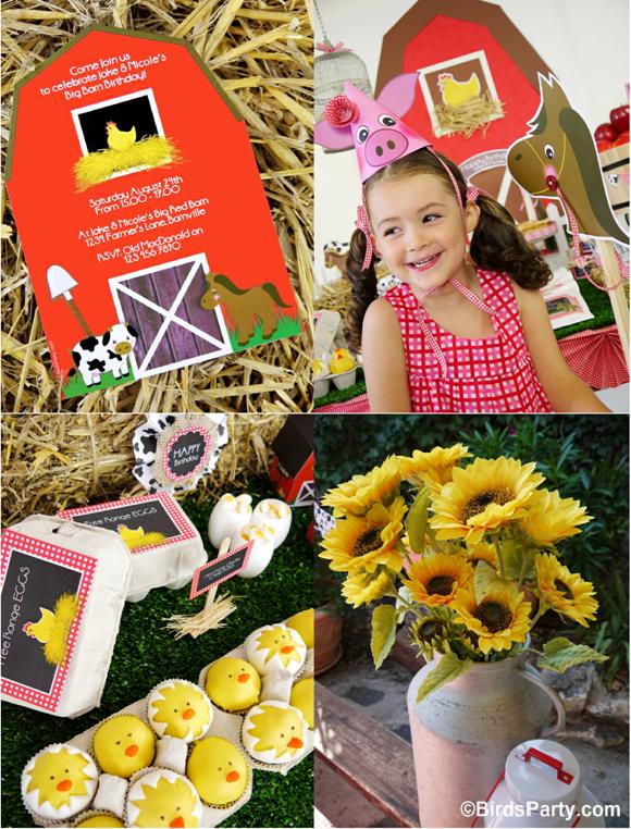 Farm and Barnyard Birthday Party Ideas and Printables - BirdsParty.com