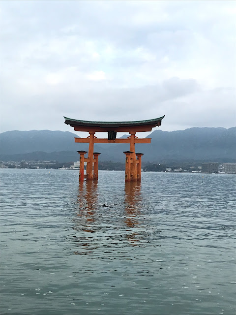 japan floating torii high tide