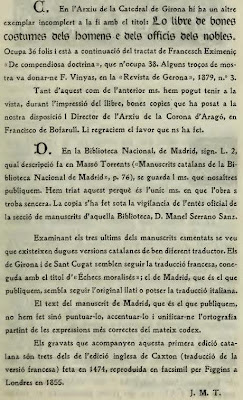Introducción (2) de Josep Massó del libro De les costums dels homes i oficis dels noble traducido por Brunet