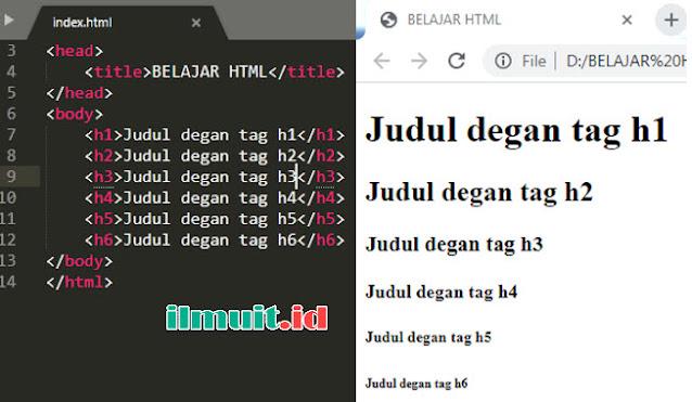 Cara Membuat Judul dan Paragraf di HTML ( tag h1 dan tag p )