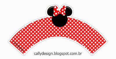Wrappers para Cupcake de Minnie en Rayas Rojas  para Imprimir Gratis.