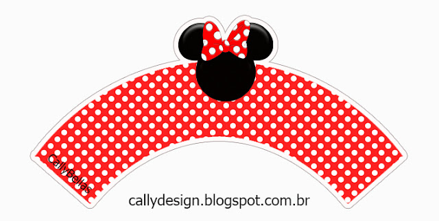 Minnie with Red Stripes and Polka Dots Free Printable Wrappers Cupcake.