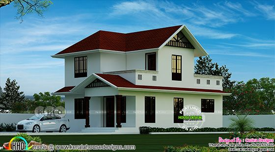 Sloping roof 2800 sq-ft simple home