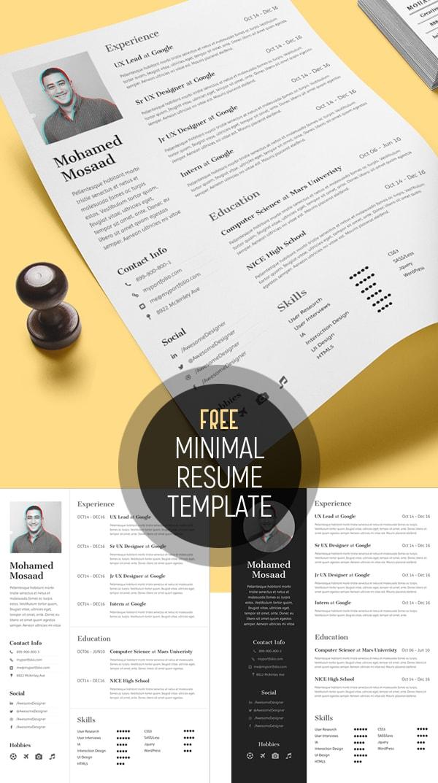 Template Resume / CV Terbaru dan Terbaik 2017 - Free Minimal Resume Template (3 Variations)