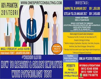 Workshop Alat Tes Psikologi 2017 Untuk Rekrutmen