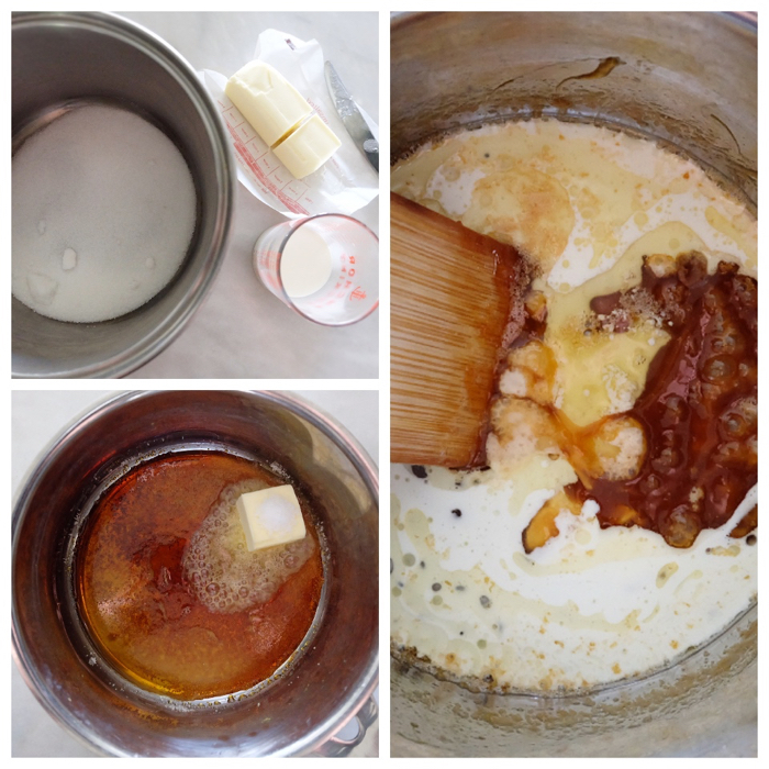 collage of images showing the making of caramel