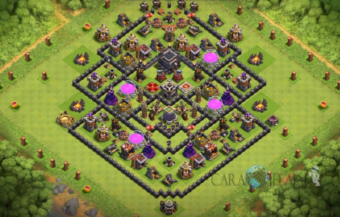 Base Farming TH 9 COC Update Bomb Tower Terbaru 2017 Tipe 24