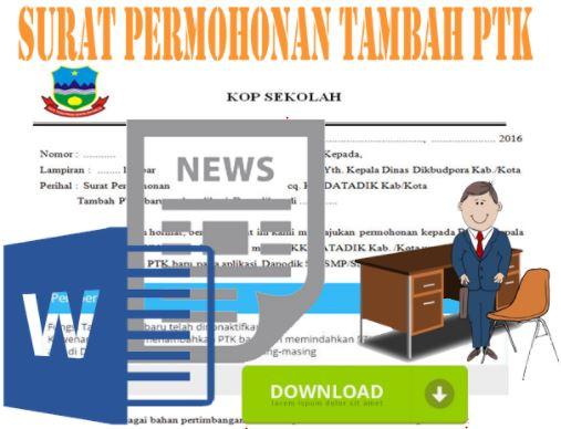 Contoh Surat Permohonan Tambah PTK Baru Aplikasi Dapodik Tahun 2017