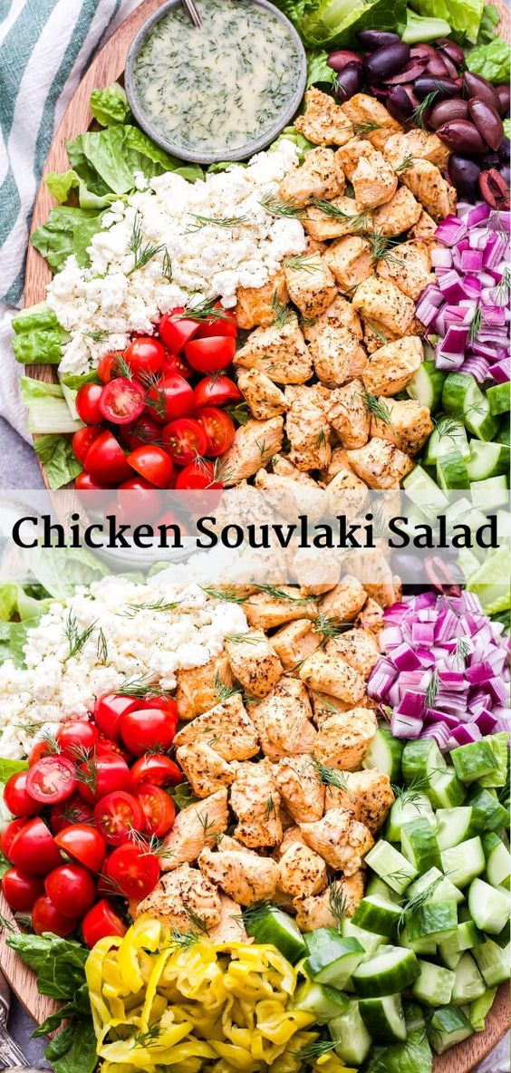 This Chicken Souvlaki Salad is loaded with all of your favorite Greek toppings! A quick and easy marinade makes the chicken extra flavorful and juicy. You'll love this healthy main dish salad! #chickensouvlaki #chicken #salad #healthysalad #dinner #glutenfree #lowcarb