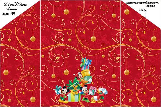 Navidad de Mickey y sus Amigos: Sobre e Invitación o Tarjeta para Descargar Gratis.